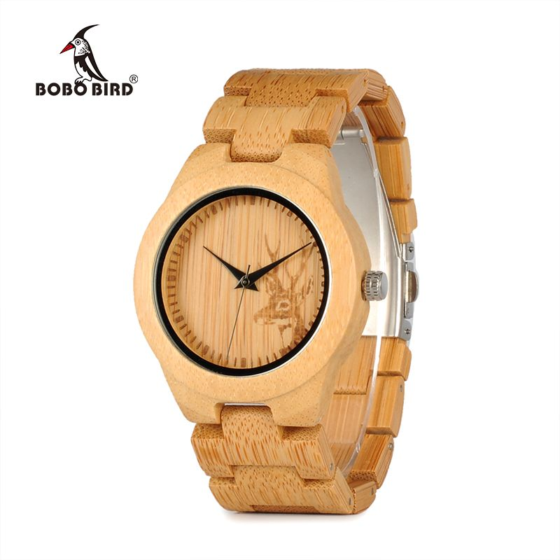 BOBO BIRD WE04 New Famous Brand Womens Deer Bamboo Wrist Watch Dress Style Female Ladies Watches as Gift