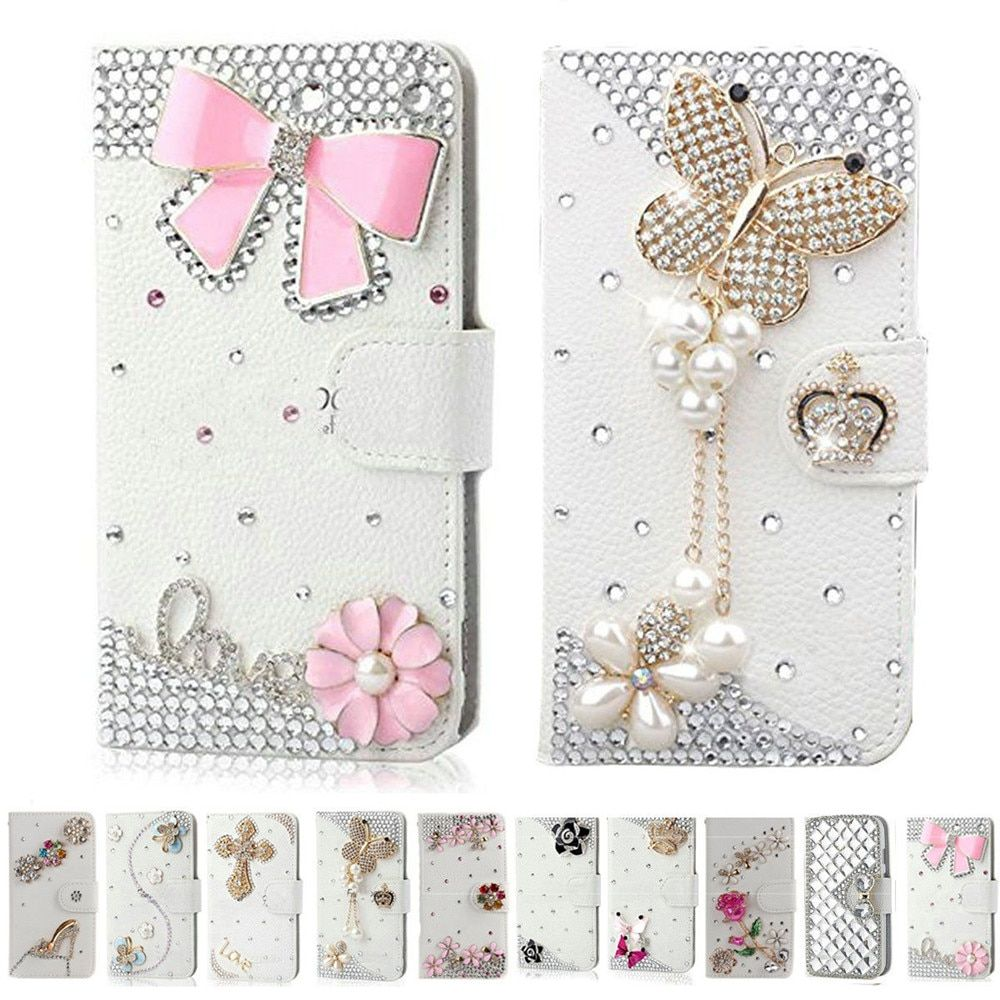 Handmade Bling Diamond Rhinestone PU Leather Filp Cover Wallet Case for Samsung S5 S7 S8 S7edge S9 for iphone X 5s 6 6s 7 8 plus
