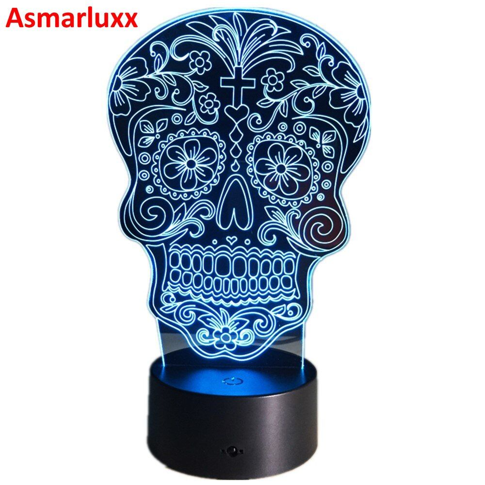 Dead Sugar Skull LED Night Light USB/Battery 7color Change LED Desk Lamp Table Light With Touch Button Home Decor Besides Lamp