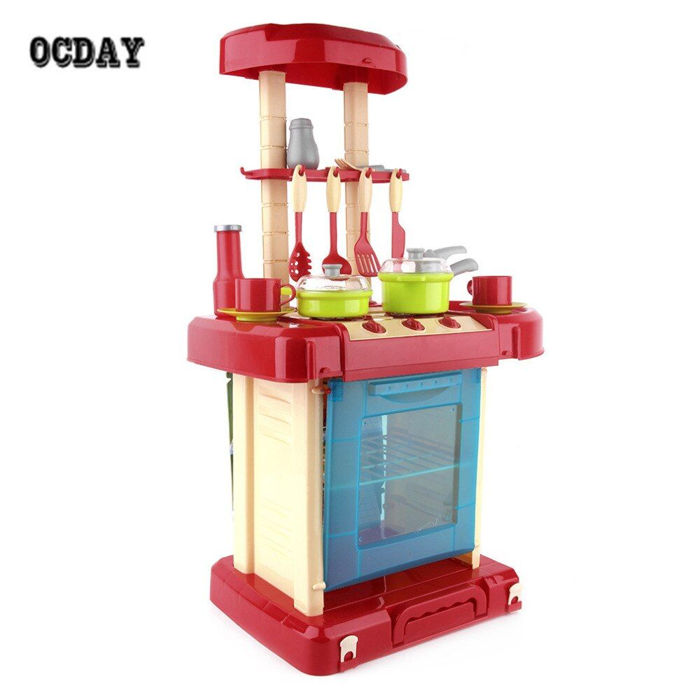 OCDAY Multifunctional Children Play Toy Girl Baby Toy Large Kitchen Cooking Simulation Table Model miniatura Utensils Toys Hot