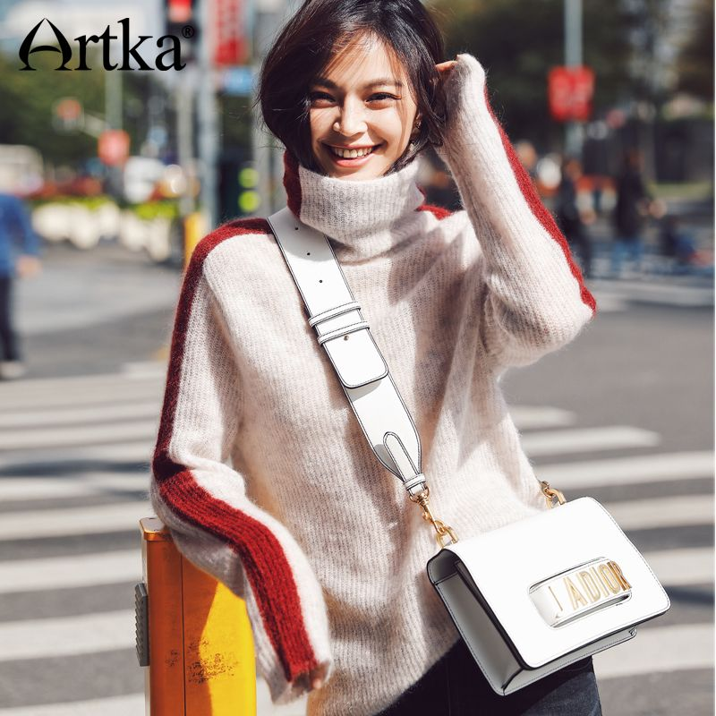 Artka 2018 New City Series Autumn&Winter Hit Color Wool Contained Turtle Neck Pullover Sweater JS17013