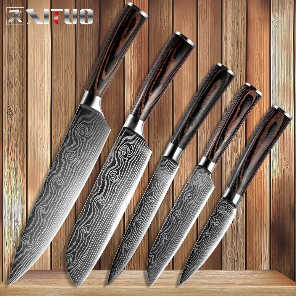 XITUO couteaux de cuisine damas veines couteaux en acier inoxydable couleur bois poignée séparation utilitaire Santoku tranchage Chef couteau de cuisine