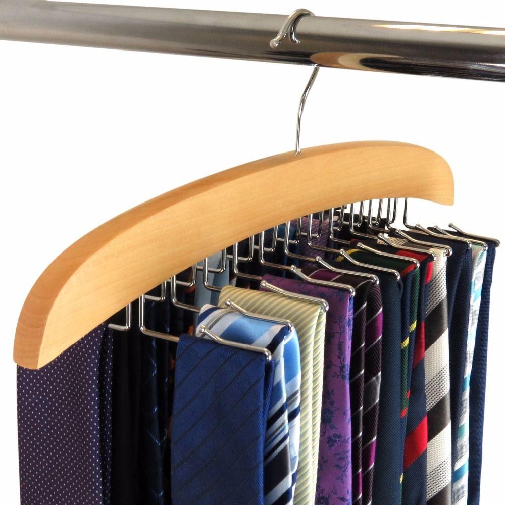 Hangerlink porte-cravate simple en bois de hêtre naturel porte-cravate organisateur 24 cravates