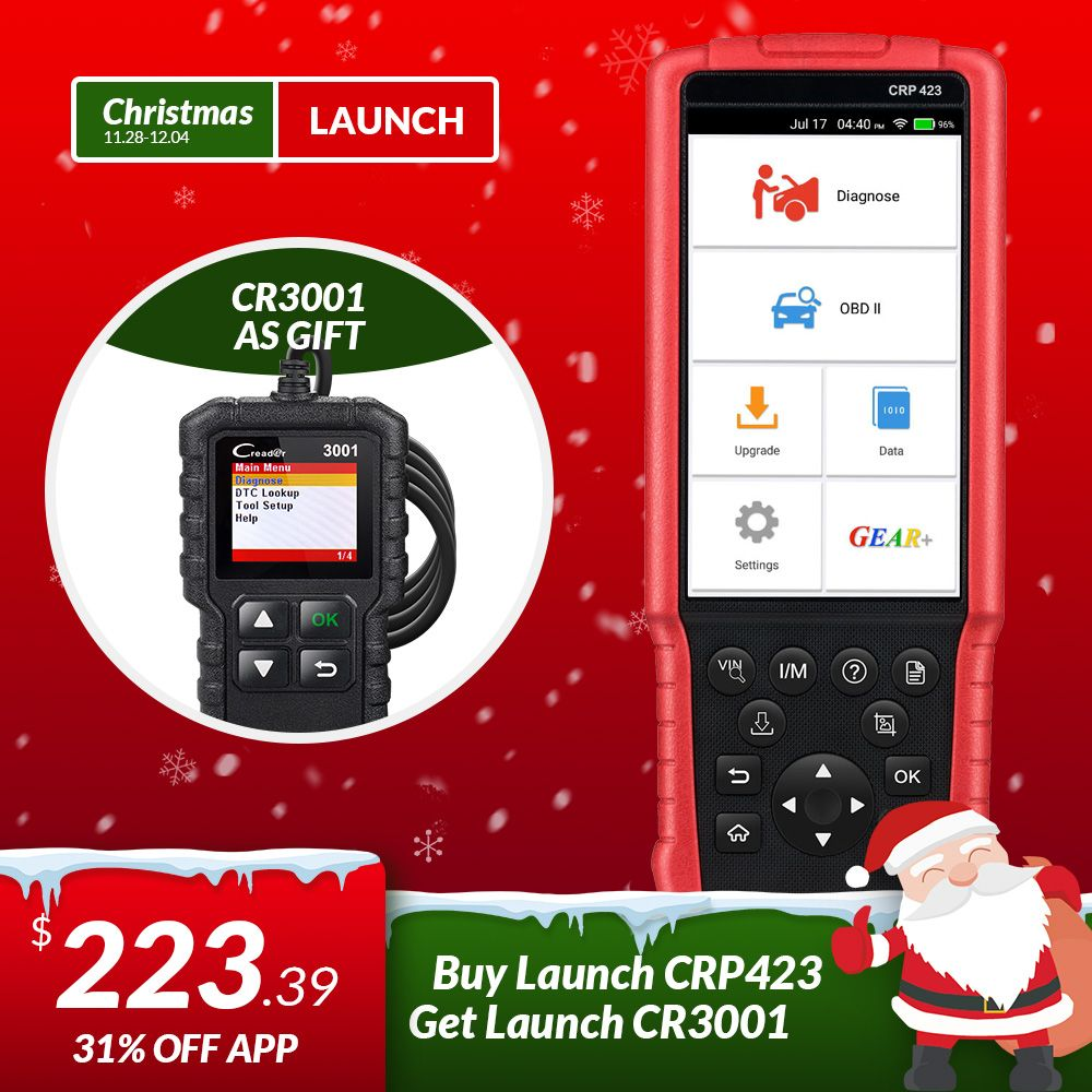 LAUNCH X431 CRP423 OBD2 Code Reader Scanner support Engine/ABS/Airbag/AT OBD 2 CRP 423 Auto diagnostic tool CRP123 creader VII+