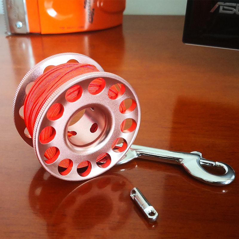 Bobine de doigt de bobine d'alliage d'aluminium de plongée sous-marine 15/30m avec le mousqueton de boulon d'acier inoxydable SMB équipement sûr accessoires de BCD