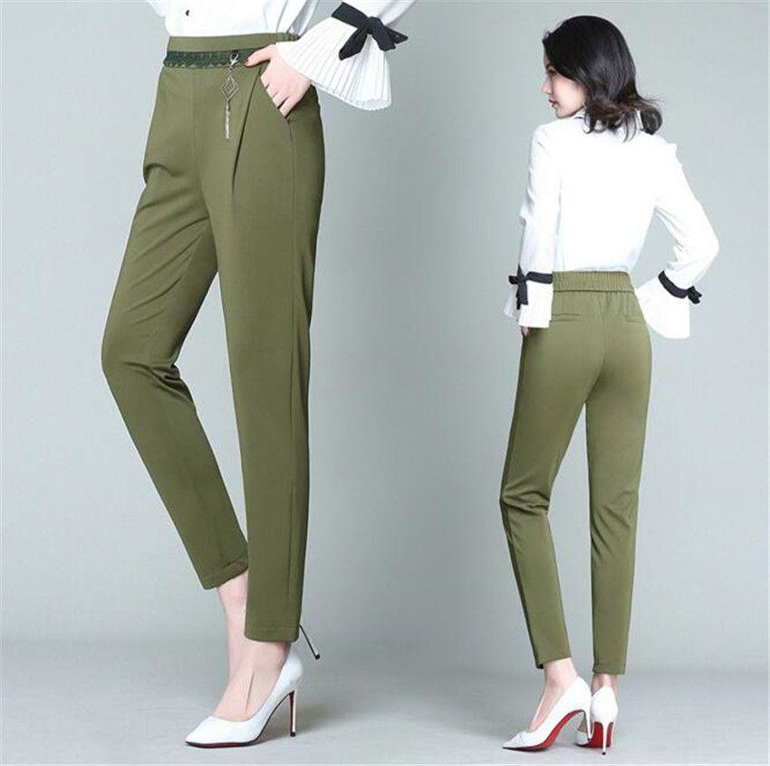 MLCRIYG Un nouveau printemps mince taille casual neuf taille solide graisse Haren pantalons lâches