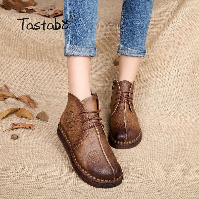 Tastabo HOT SALE Shoes <font><b>Women</b></font> Retro Boots Handmade Ankle Boots Flat Boots Real Genuine Leather Shoes <font><b>Women</b></font> Shoes Plus Size 42
