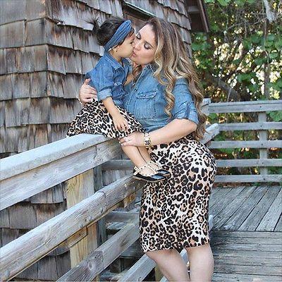 Familia A Juego Camisa Vaquera + Leopard Falda Trajes Cloting Set Mujeres Mamá Bebé Fanshion
