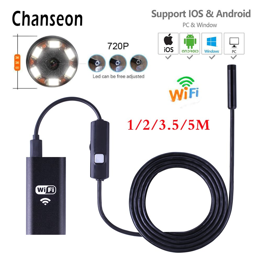 Gizcam 1M Android Phone PC Computer 7mm Endoscope Waterproof Borescope Micro USB Camera Inspection Tube Pipe Snake Video Camera