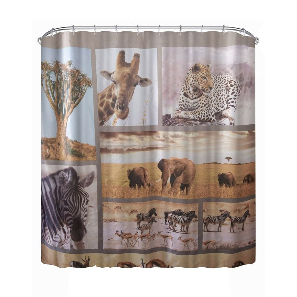 180cm * 180cm 3D Waterproof Wildlife Animal World Shower Curtain Bathroom Products Fiber Bath Curtain cortina de bano