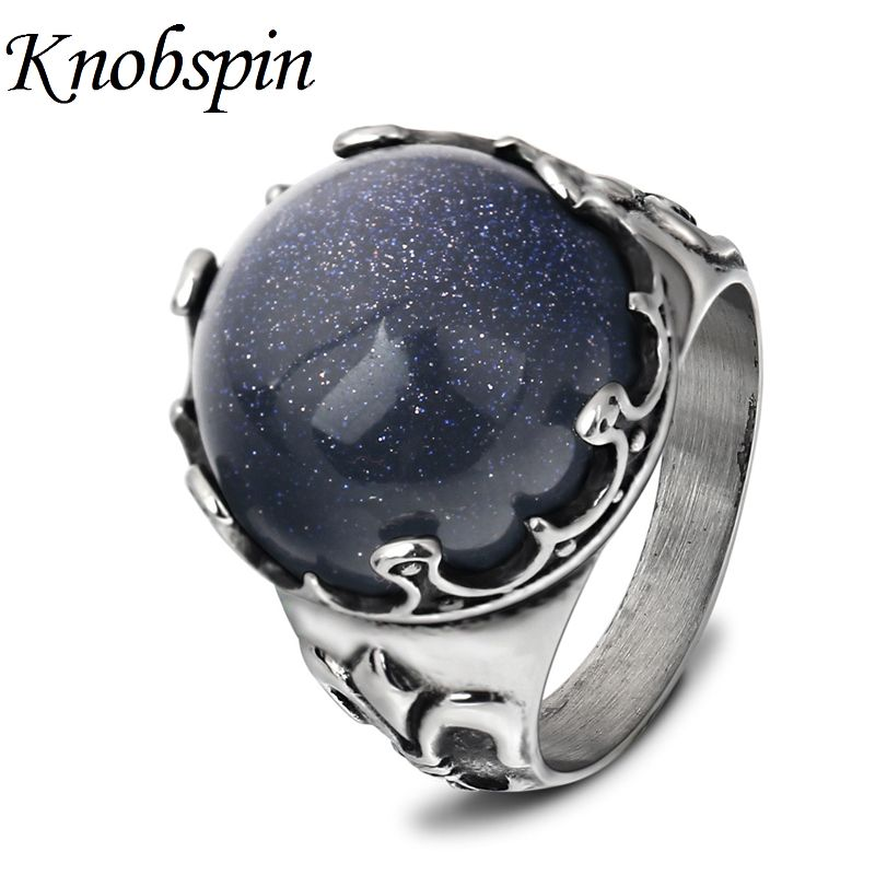Shiny Blue Sandstone Ring for Men Fashion Unique Titanium Steel Male Finger Ring Jewelry Gifts US Size 7-12 anel masculino