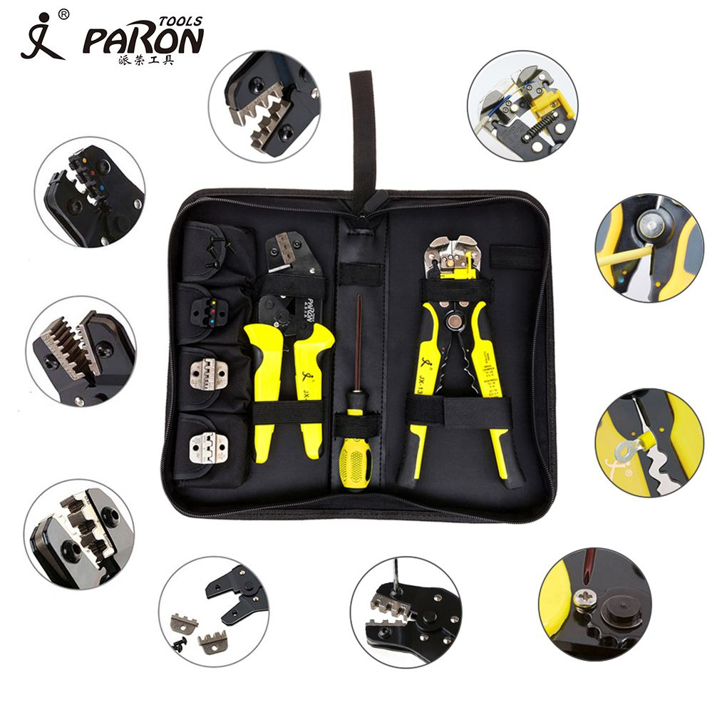4 In 1 Wire Crimper Hand Tools Kit Engineering Ratchet Terminal Crimping Plier Wire Crimper + Wire Stripper+S2 Screwdiver