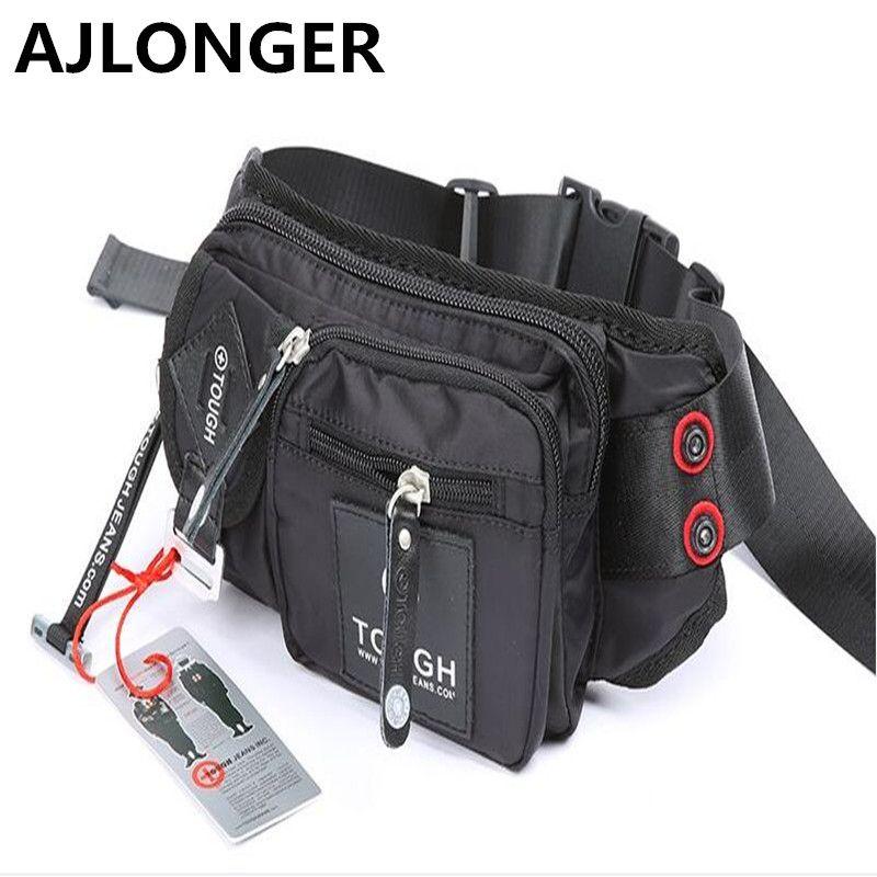 Tough man bag quality parachute material waterproof nylon male fashionable casual waist pack free shipping
