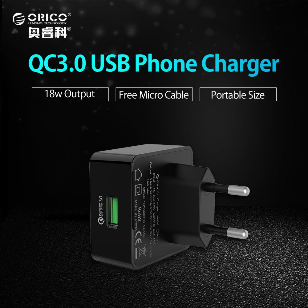 ORICO 1 Port QC3.0 USB Quick Charger Wall Charger with 1m Free Micro USB Cable EU/US/UK Type Plug-Black(QTW-1U)