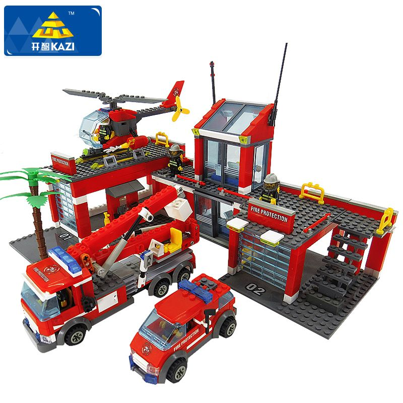 KAZI 8051 Building Blocks Fire Station <font><b>Model</b></font> Blocks Compatible Legoe City Bricks Block ABS Plastic Educational Toys For Children