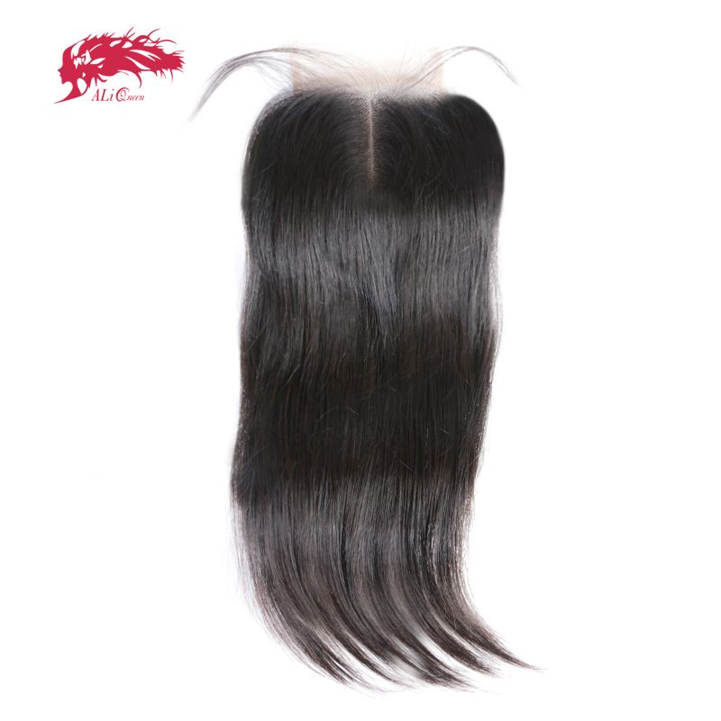 Ali Queen Hair Products Straight Brazilian Virgin Hair Swiss Lace Closure Middle Part Natural Color 10