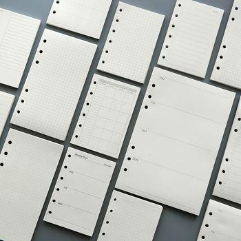 45 feuilles 100g DIY spirale notebook papier recharges A5 A6 hebdomadaire mensuel journal papiers plaid vérifier blanc points doublé