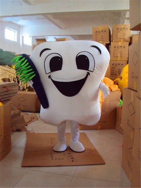 Tooth with Brush Mascot Costume Teeth Birthday Party Halloween Fancy Cosplay Dress Adult