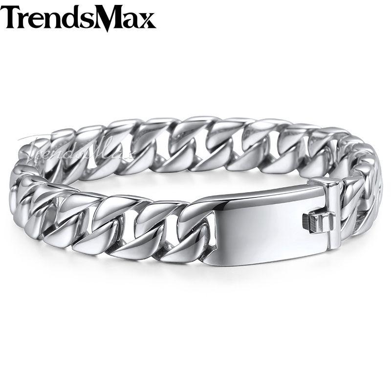 Trendsmax Mode Nouveau Lien Chaîne En Acier Inoxydable Bracelet Hommes Lourd 12mm Large Hommes Bracelets 2018 Vélo Chaîne Bracelet HB139