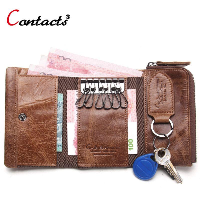 CONTACT'S Men Wallet Key Case Key Holder Wallet Coin Purse Genuine Leather Housekeeper Car Key <font><b>Organizer</b></font> Bag Small Portfolio