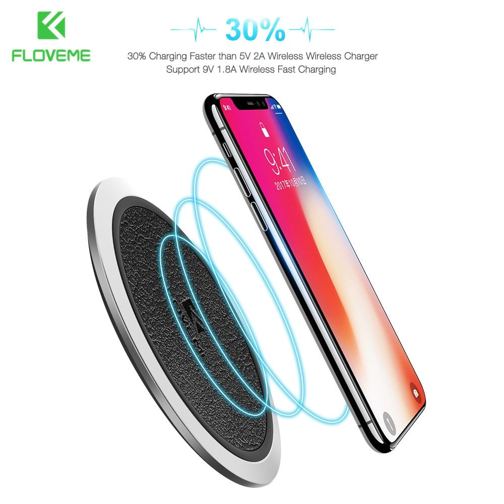 Qi Wireless Charger FLOVEME Original Leather Wireless Charger Charging Pad For Samsung S8 Plus S7 edge Note 8 For iPhone 10 X 8