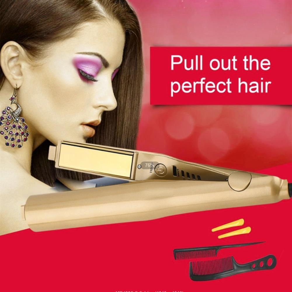 Pro 2 dans 1 Twist Cheveux Curling et fer à lisser fer à lisser bigoudi Humide et Sec fer plat appareil de coiffure livraison directe