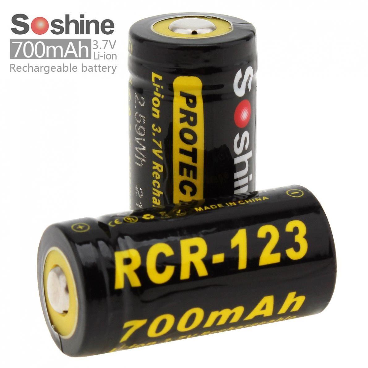 Soshine Li-ion RCR 123 3.7V 16340 700mAh protégé batterie au Lithium Rechargeable (2 pièces) avec étui de batterie