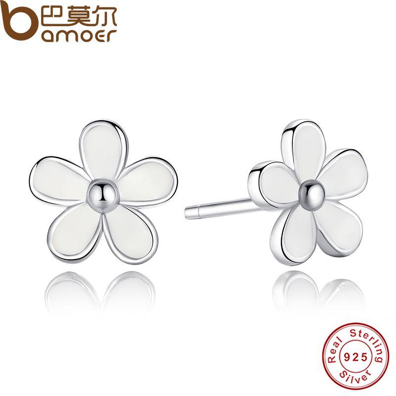 925 Sterling Silber Liebling Daisy Stud Ohrring Weiß Emaille Mit Klar CZ Kompatibel mit Schmuck Spezielle Shop PAS409