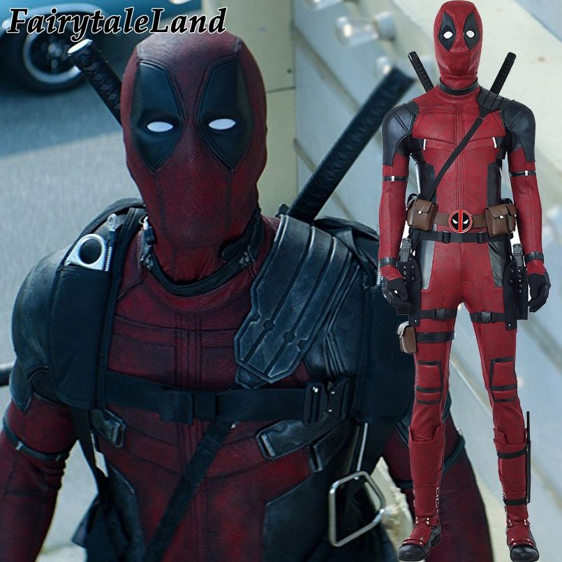 Deadpool Cosplay Costume Halloween costumes for Adult Superhero Deadpool 2 Wade Cosplay Costume Deadpool jumpsuit boots