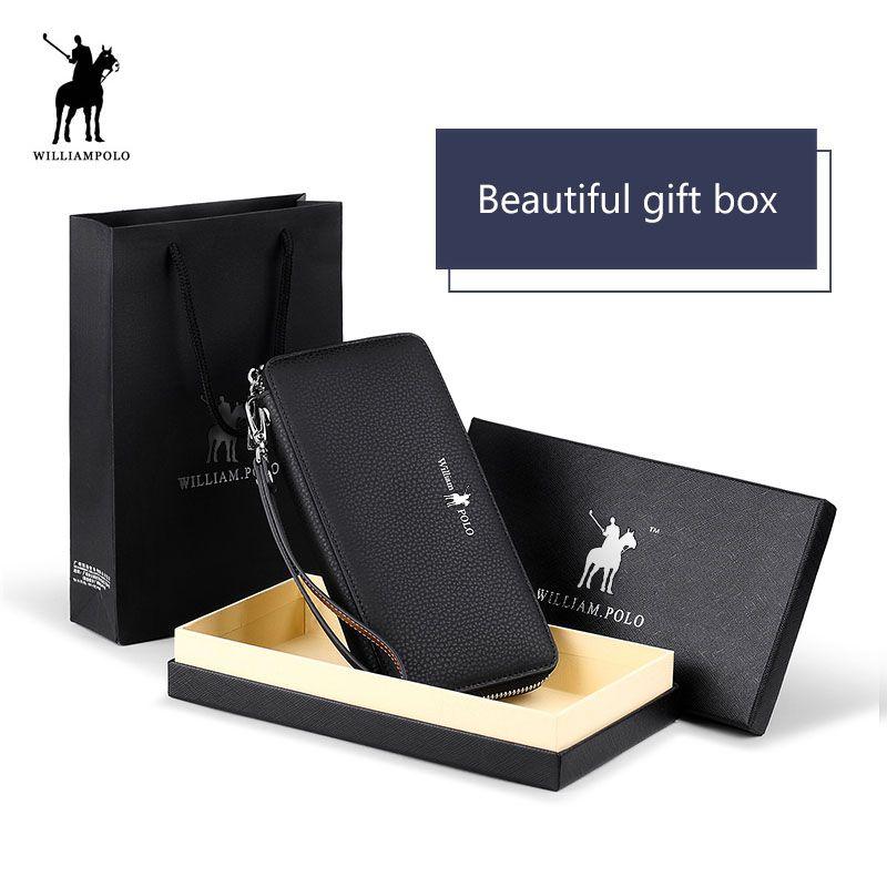Echtes Leder Lange Männer Kupplung Brieftasche Mit Zipper WILLIAMPOLO 2018 Mode Neue Telefon Kreditkarte Halter Handtasche Männlichen Geschenk box