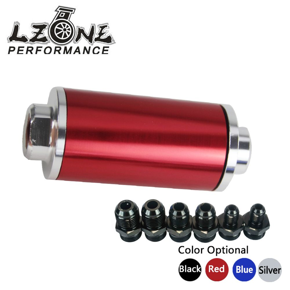 LZONE RACING - ID:58MM Fuel filter with each 2pcs AN6/AN8/AN10 adaptor black fittings with 100micron steel element JR5573