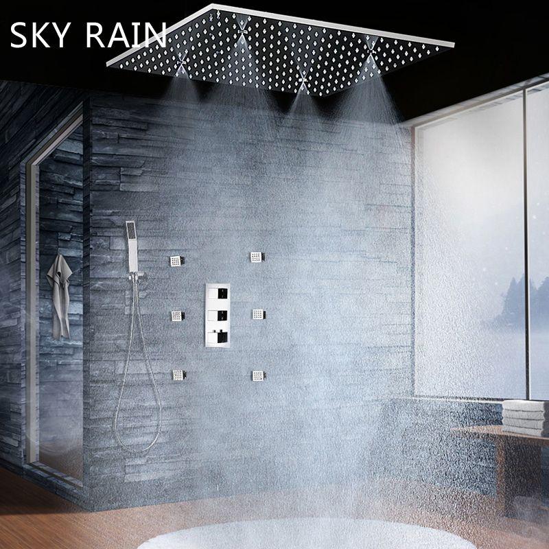 SKY REGEN Luxus 20 Inch Decke Montiert Dusche Kopf Thermostat Mischer Niederschläge Spray Nebel Dusche Set Mit Körper Jets