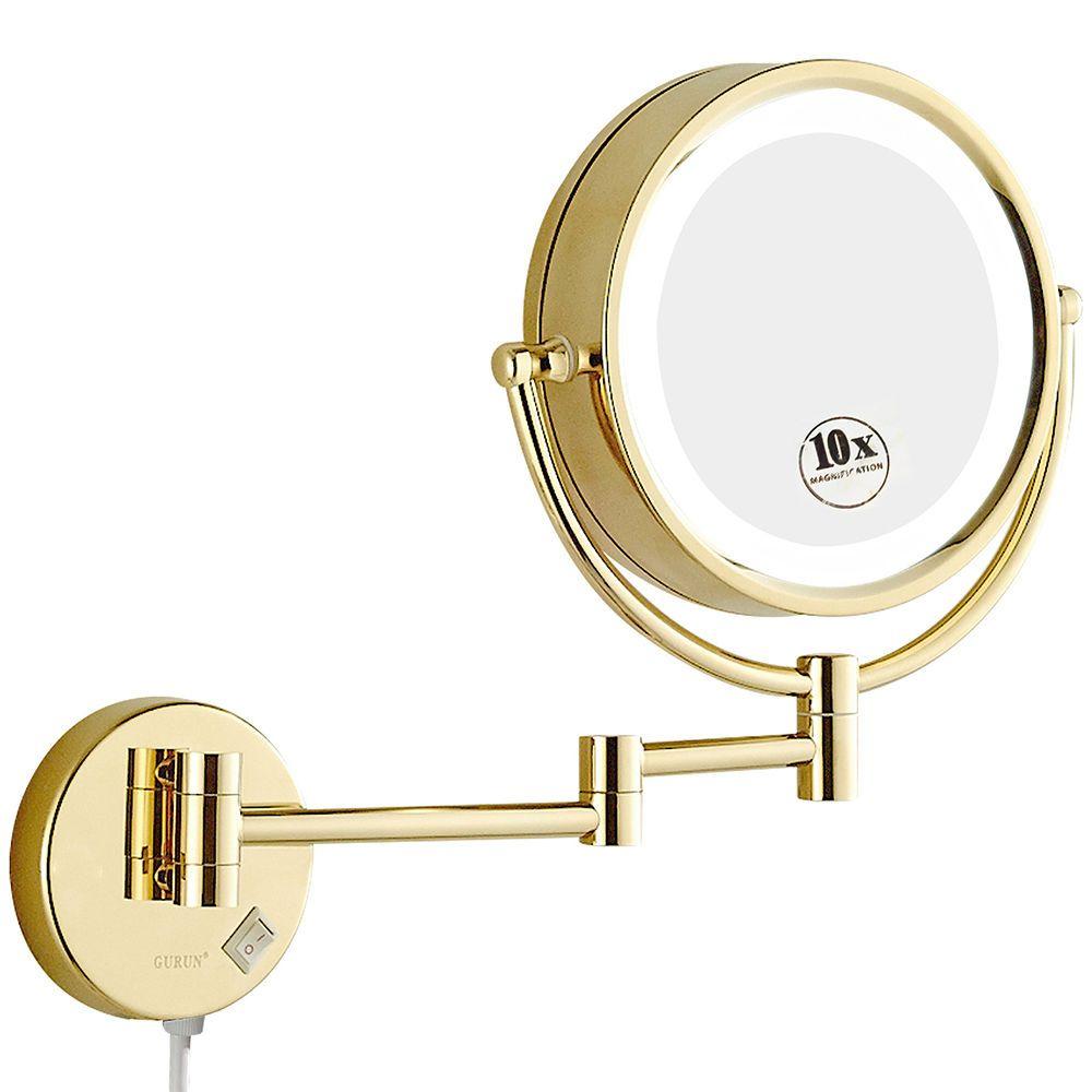 GURUN rasage maquillage miroirs avec lumières de LED et 10x/1X grossissement mural salle de bain vanité éclairé or miroirs 8.5