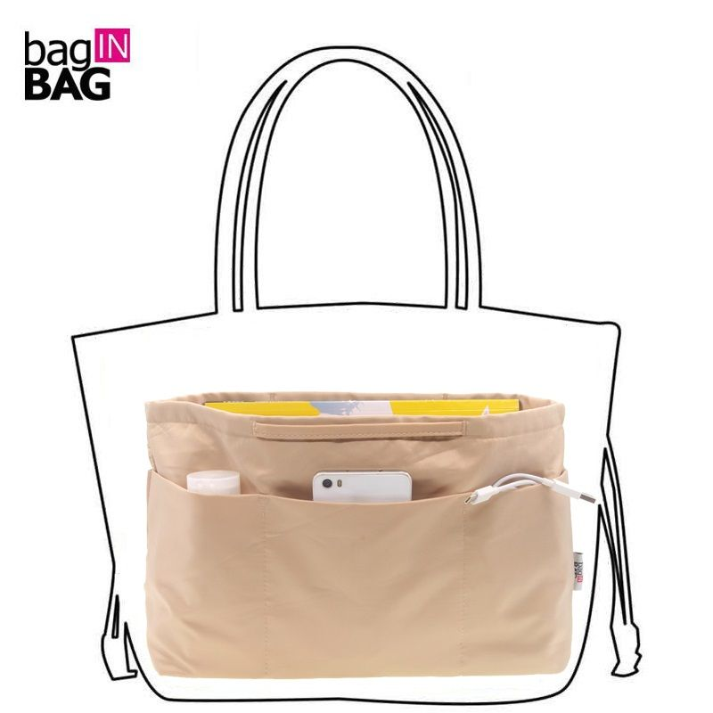 Bag in Bag Women <font><b>Organizer</b></font> Bag Cosmetic bags Travel <font><b>Organizer</b></font> Pockets Handbag; Large Medium Small Size; Brown, Black, Coffee