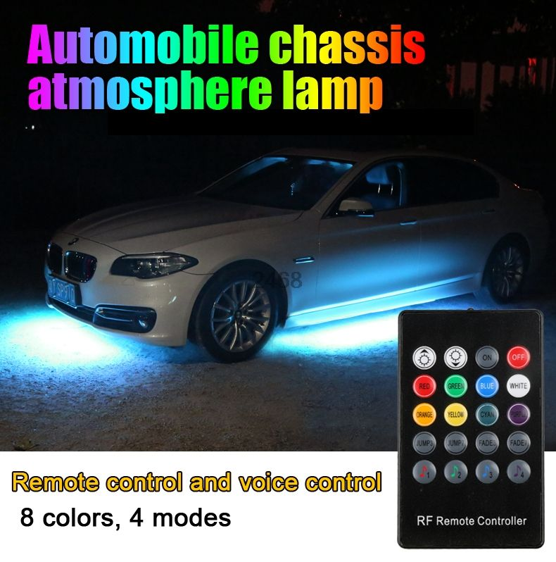 4pcs Car RGB LED Strip 5050 SMD Decorative Atmosphere Lamps Under Car Tube Underglow Underbody System Neon Light Kit With Remote