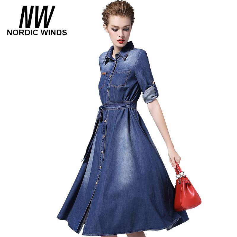 Nordic Winds Womens Clothing Jeans Dresses 2017 Cowboy Style Three Quarter Sleeve Turn Down Collar Bow Sashes A-line Denim Dress