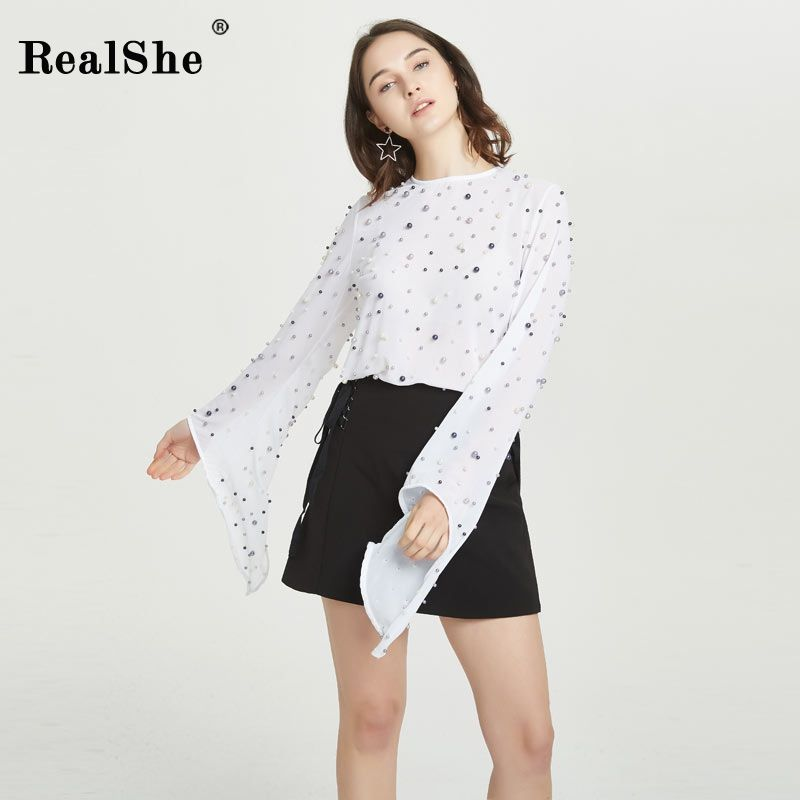 RealShe New Women Shirts Spring Pearls Beading Tops Female Flare Sleeve Zip T Shirt 2018 Ladies FashionCcasual Tops Blusas
