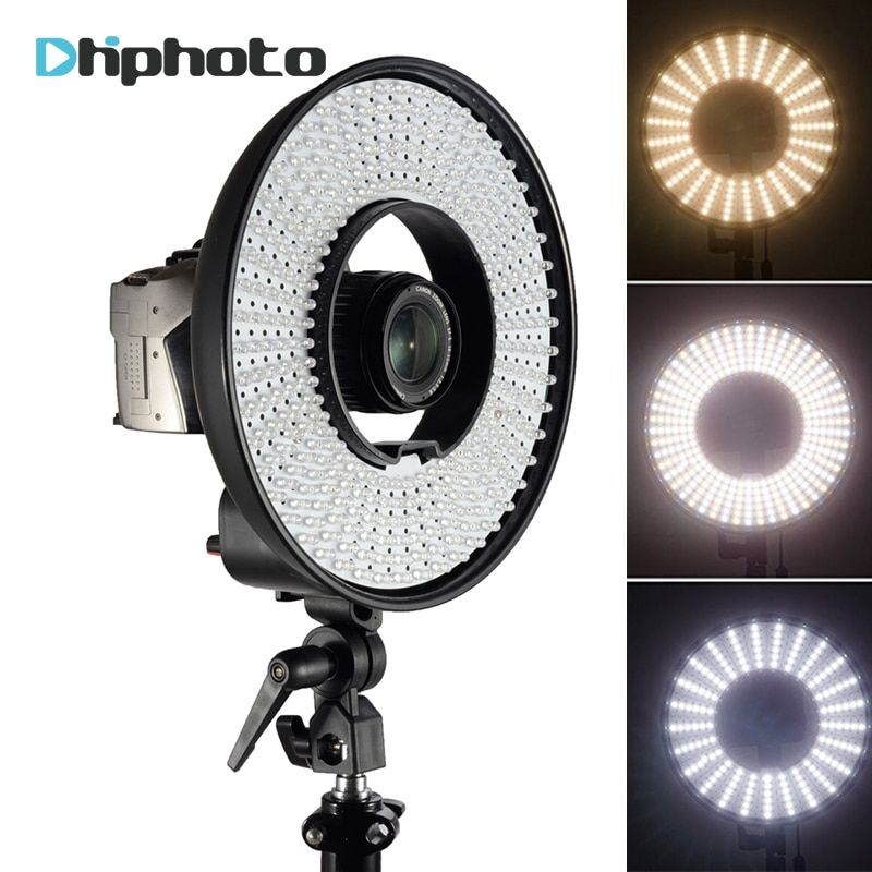 Photography DVR-300DVC Dimmable LED Ring Selfie Video Light Camera Photo Studio Continuous Ring Lamp for Canon Nikon DSLR Camera