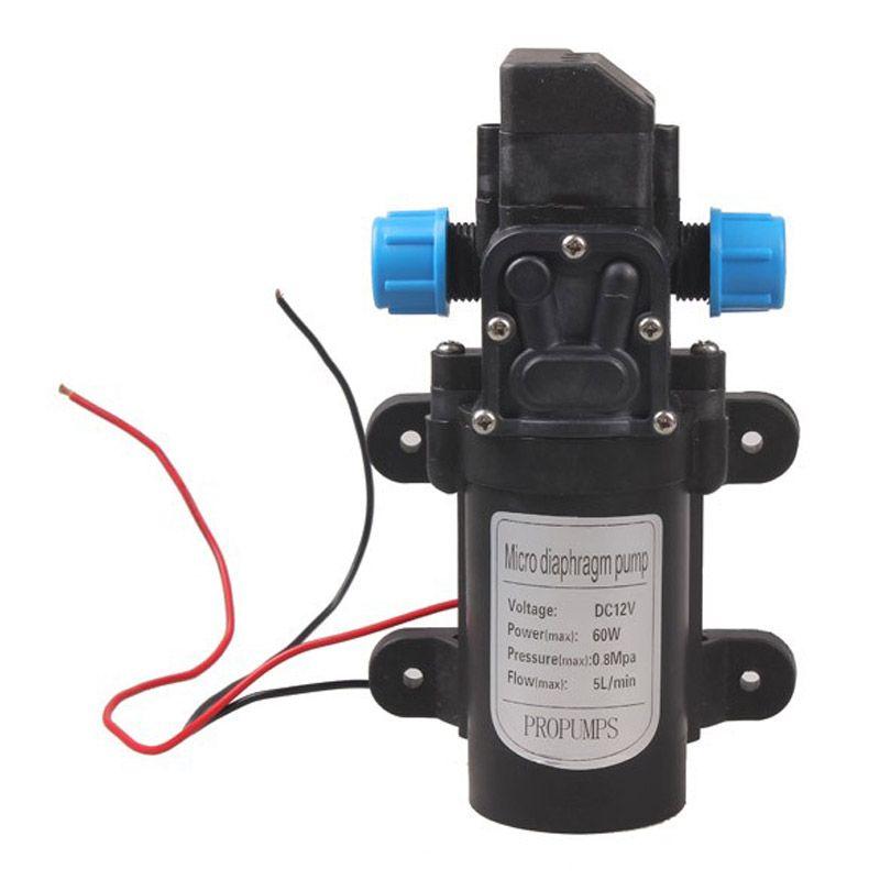 High Pressure Mini Car Diaphragm Water Pump DC12V 60W 0.2Mpa 0.8Mpa Automatic Switch 5L/min 16.5 x 9.5 x 6cm