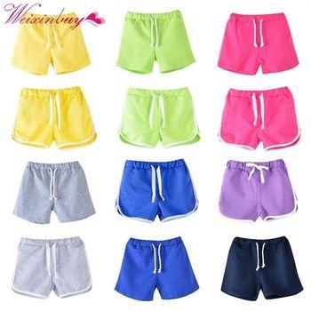 WEIXINBUY enfants vêtements 2018 nouvelle couleur de sucrerie filles court chaude d'été garçons plage pantalon shorts Respirant