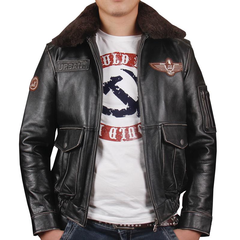 HARLEY ZWETSCHGE Vintage Schwarz Männer Pilot Leder Jacke Wolle Kragen Plus Größe XXXL Echte Dicke Rindsleder Flug Leder Mantel