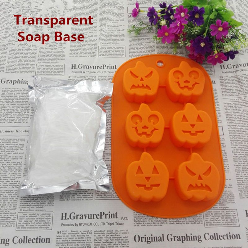 DIY Handmade Soap Set 250g White Soap Base And 6 Holes Pumpkin 3D Silicone Mold Raw Materials Base Christmas Halloween DIY Gift