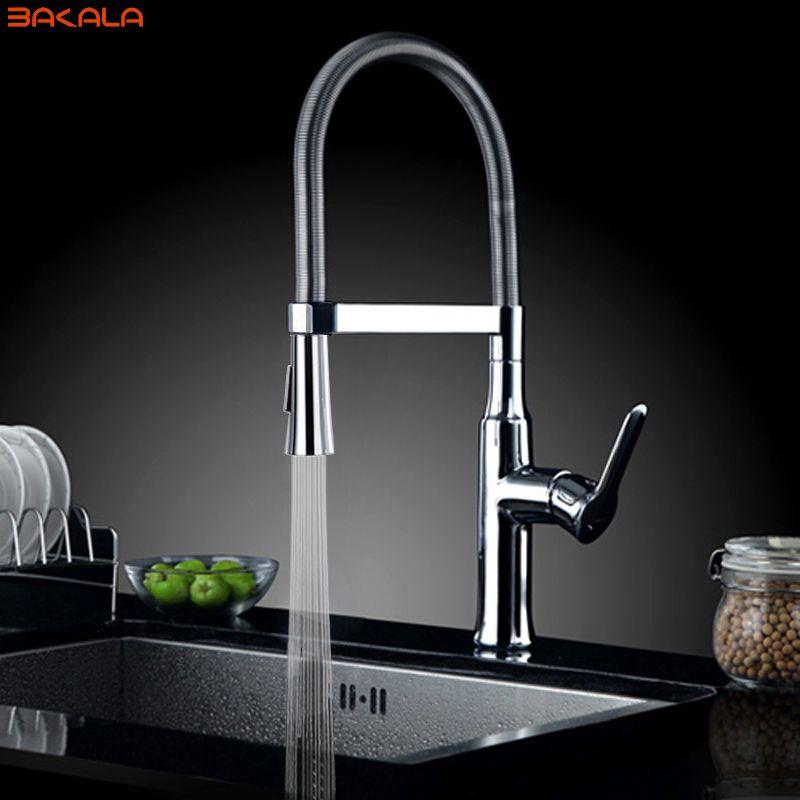 BAKALA torneira cozinha robinets de cuisine eau chaude et froide chrome lavabo évier carré cozinha robinets mélangeurs torneira de cozinha