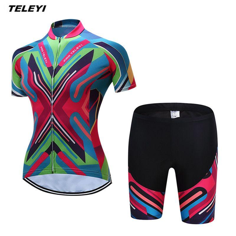 Coloful teleyi MTB велосипед Джерси Шорты устанавливает Ropa Ciclismo Джерси Для женщин Велосипедная форма для девочек Топ дно мягкий женский