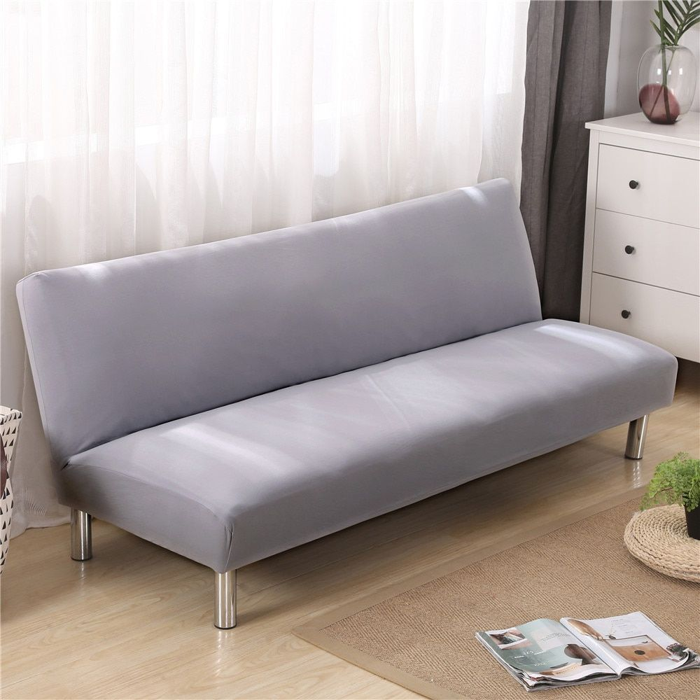 Solid Color Elastic Sofa Cover No armrest Removable Stretch Slipcovers for Couch All-inclusive Folding Sofa Bed Cover 160-190cm