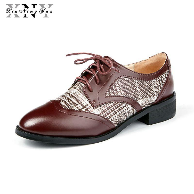 XiuNingYan Frauen Echtes Leder Flache Schuhe Müßiggänger Runde Kappe Handgefertigten Vintage Schwarz 2018 Sping Oxford Schuhe für Frauen mit Pelz