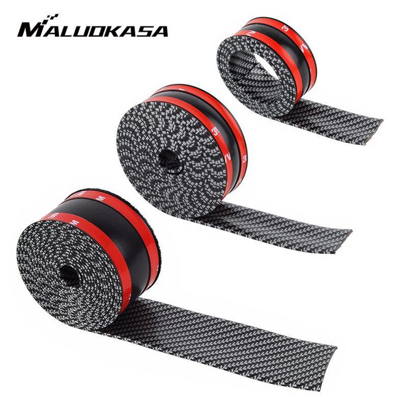 Autocollants de voiture 5D en Fiber de carbone en caoutchouc autocollant bricolage voiture Tuning autocollant protecteur de seuil de porte résistant aux rayures garniture bande accessoires Auto