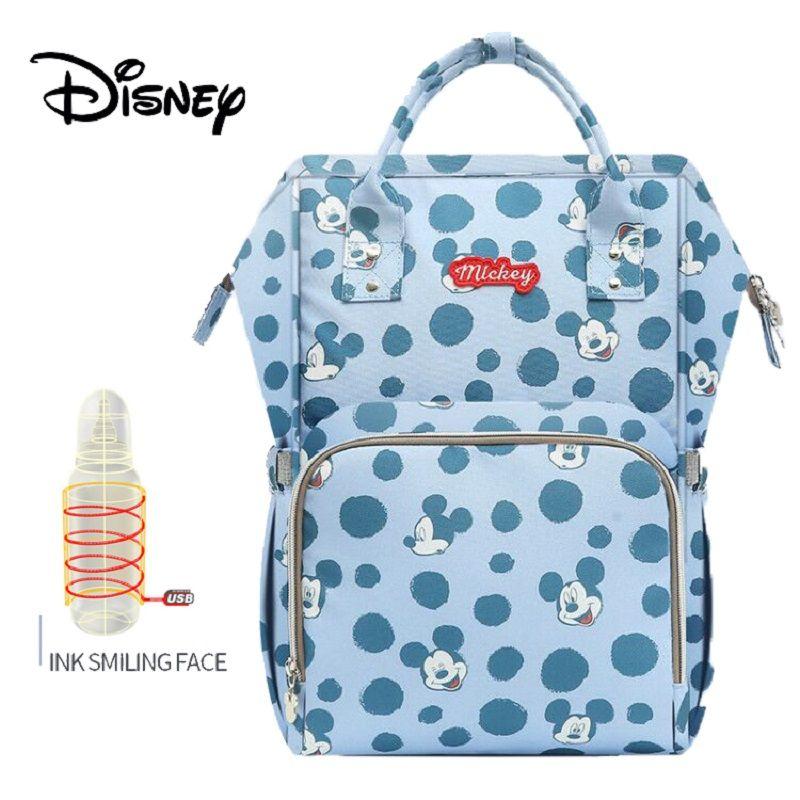 Disney Bottle Feeding Insulation Bags USB Oxford Cloth Nappy Stroller Bag Backpack Waterproof Bolsa Maternidade Diaper Bag