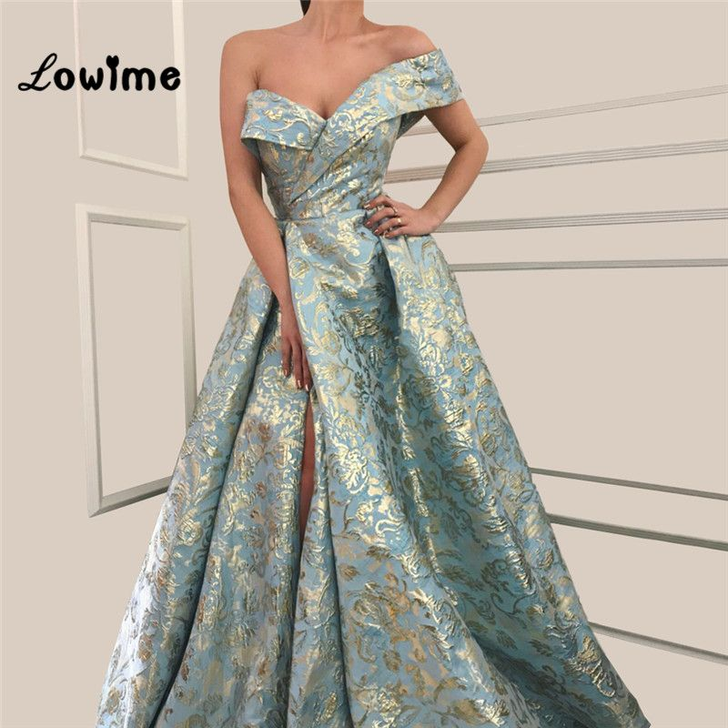 Couture Elegant One Shoulder Arabic Evening Dress Long A Line Prom Dresses 2018 Abendkleider High Split Side Party Dress Gowns