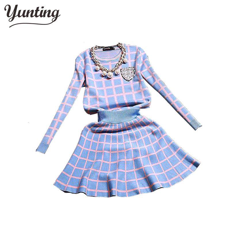 2019 New Knit Long-sleeve Sweater Skirt Suits Women Sweet Beads Collar Knit Crochet grid Crop Top A-line Skirt Women's 2pcs Set